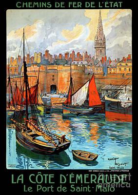 France Saint Malo Restored Vintage Travel Poster Art Print by Carsten Reisinger