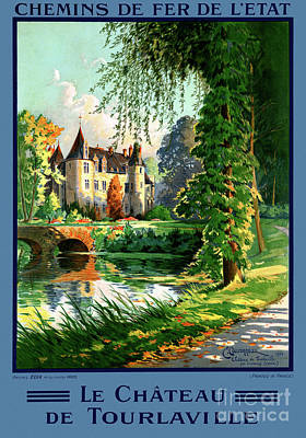 Mixed Media - France Tourlaville Restored Vintage Travel Poster by Carsten Reisinger