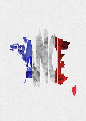 Digital Art - France Typographic Map Flag by Inspirowl Design