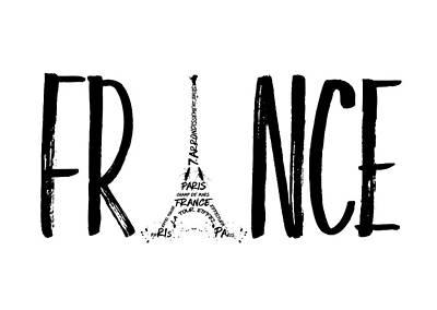 Contour Digital Art - France Typography by Melanie Viola