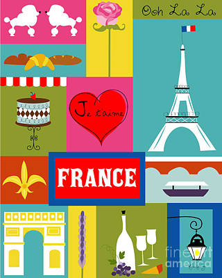 France Vertical Scene - Collage Art Print by Karen Young