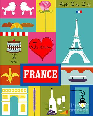 Poodle Digital Art - France Vertical Scene - Collage by Karen Young