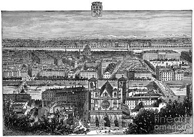 Drawing - France, View Of Lyon, C1894 - To License For Professional Use Visit Granger.com by Granger
