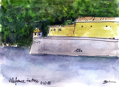 Villefranche Painting - France - Villefranche Fortress by Michael Liebhaber