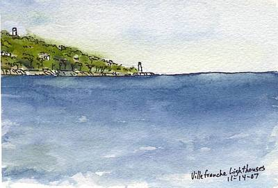 Villefranche Painting - France - Villefranche Lighthouses by Michael Liebhaber