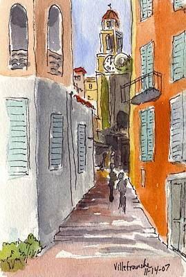Villefranche Painting - France - Villefranche Stairway by Michael Liebhaber