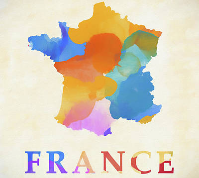 Painting - France Watercolor Map by Dan Sproul