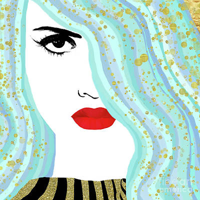 Negative Space Painting - Francesca Has Mermaid Hair, Golden Bokeh, Fashion Art by Tina Lavoie