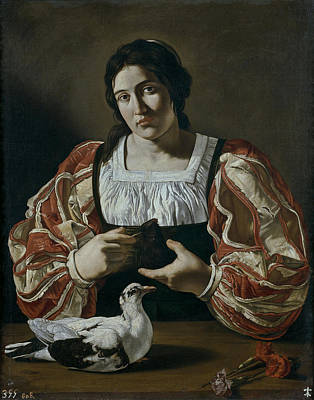 Seventeenth Century Painting - Francesco Woman With Dove First Quarter Of The Seventeenth Century by MotionAge Designs