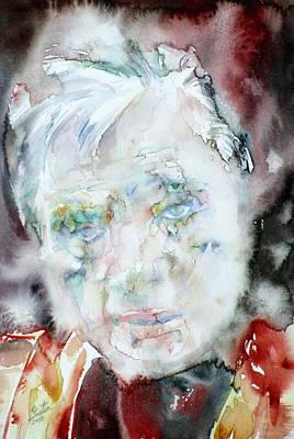Francis Bacon - Watercolor Portrait.2 Original by Fabrizio Cassetta