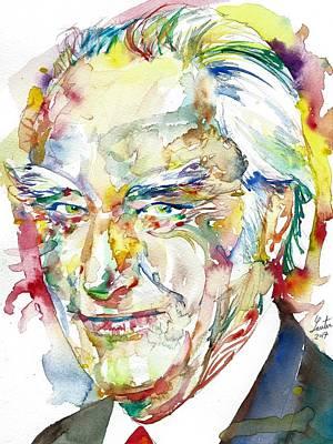 Painting - Francis Crick - Watercolor Portrait by Fabrizio Cassetta