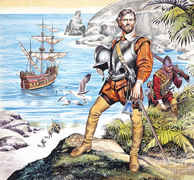 Drake Painting - Francis Drake And The Golden Hind by Ron Embleton