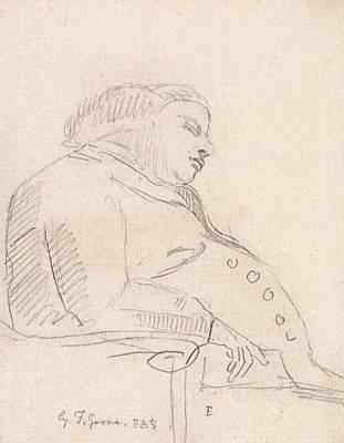 Chair Drawing - Francis Grose Asleep In A Chair by Paul Sandby
