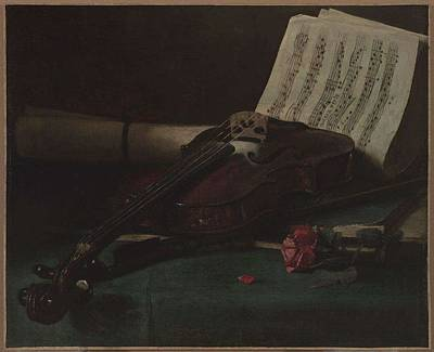 Music Paintings - Francois Bonvin   Still Life with Violin  Sheet Music   and a Rose by Francois Bonvin
