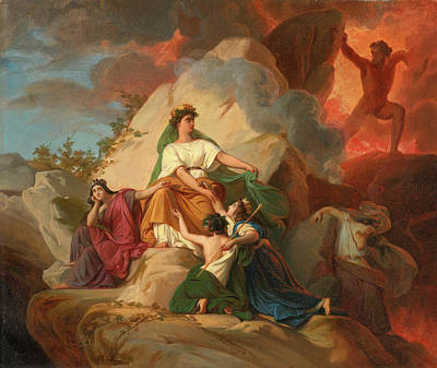 Picot Painting - Cybele Opposing Vesuvius To Protect The Cities Of Stabia Herculaneum Pompeii by Francois-Edouard Picot