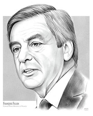 Politicians Drawings - Francois Fillon by Greg Joens