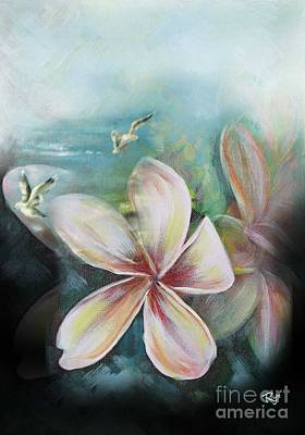 Painting - Frangipani Beach by Ryn Shell