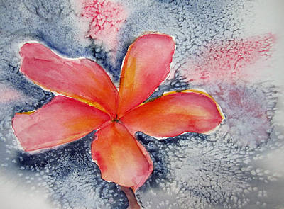 Frangipani Blue Art Print by Elvira Ingram