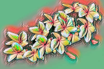 Photograph - Frangipani Painting In Watercolors by Debra and Dave Vanderlaan