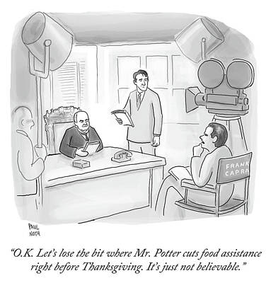 Drawing - Frank Capra Filming Mr Potter by Paul Noth