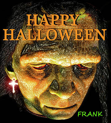 Frankenstein Digital Art - Frank Halloween Card by David Lee Thompson