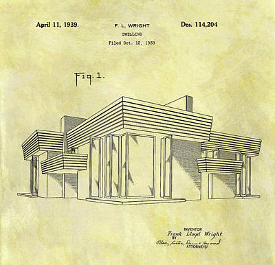 Drawing - Frank Lloyd Wright House Patent by Dan Sproul