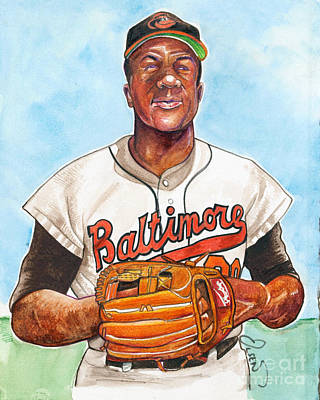 Mlb Art Drawing - Frank Robinson by Dave Olsen