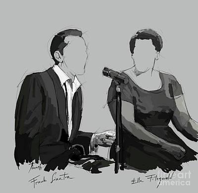 Musico Digital Art - Frank Sinatra And Ella Fitzerald, Good Old Fashion Jazz, Singers by Pablo Franchi