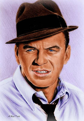 Musicians Drawings - Frank Sinatra blue edit by Andrew Read
