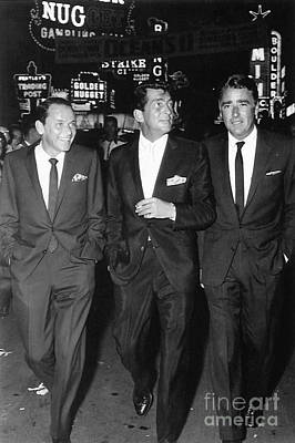 Frank Sinatra Photograph - Frank Sinatra, Dean Martin And Peter Lawford In Las Vegas Filming Ocean's 11. by The Titanic Project