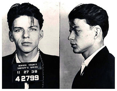 Celebrities Royalty-Free and Rights-Managed Images - Frank Sinatra Mug Shot Horizontal by Tony Rubino