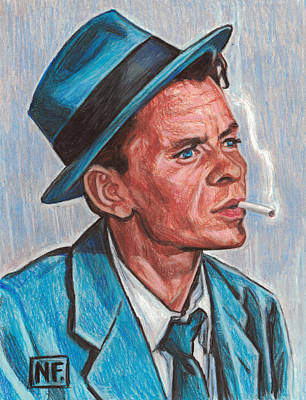 Old Blue Eyes Drawing - Frank Sinatra  by Neil Feigeles