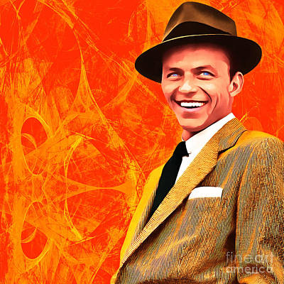 Frank Sinatra Old Blue Eyes 20160922 Square Art Print by Wingsdomain Art and Photography
