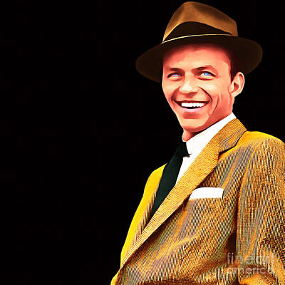 Frank Sinatra Old Blue Eyes 20160922v2 Square Art Print by Wingsdomain Art and Photography