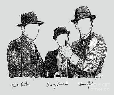 Frank Ocean Drawing Drawing - Frank Sinatra, Sammy Davis Jr And Dean Martin, A Part Of The Rat Pack by Pablo Franchi