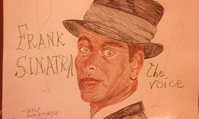Foulard Drawing - Frank Sinatra - The Voice by Maria Fiorella Borrini