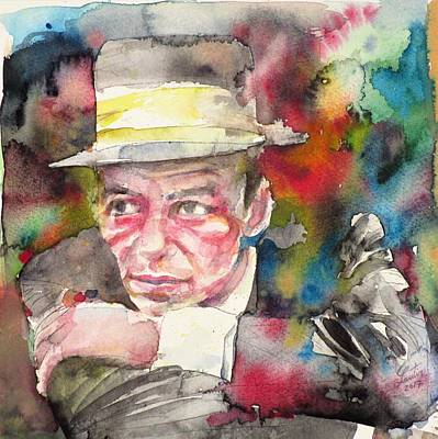 Painting - Frank Sinatra - Watercolor Portrait.10 by Fabrizio Cassetta