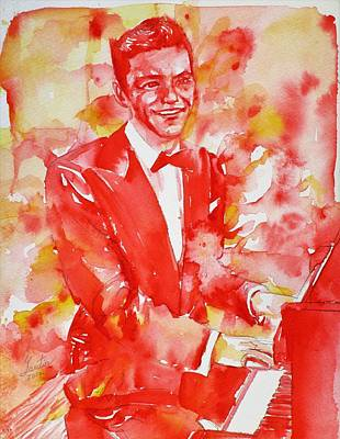 Mixed Media - Frank Sinatra - Watercolor Portrait.11 by Fabrizio Cassetta