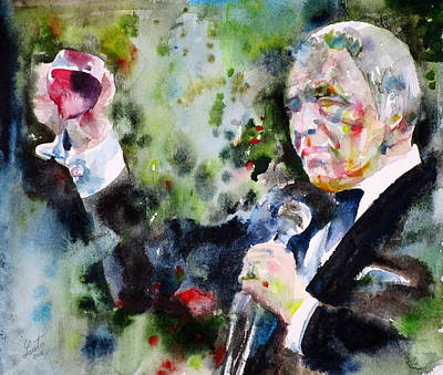 Frank Sinatra - Watercolor Portrait.5 Original by Fabrizio Cassetta