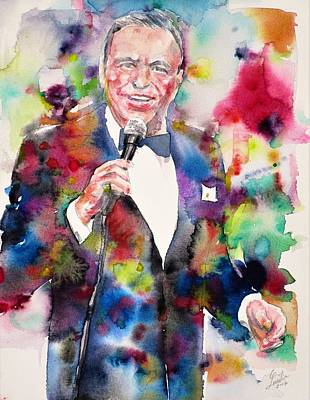 Painting - Frank Sinatra - Watercolor Portrait.9 by Fabrizio Cassetta