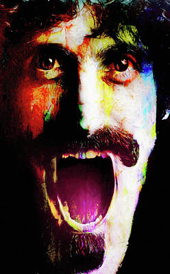 Jazz Mixed Media Royalty Free Images - Frank Zappa Royalty-Free Image by Mal Bray