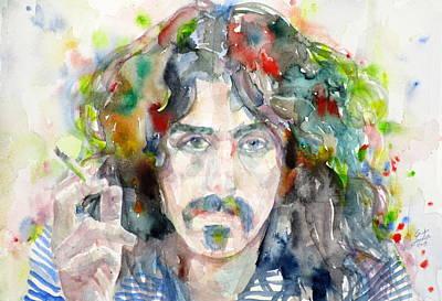 Frank Zappa Painting - Frank Zappa - Watercolor Portrait.8 by Fabrizio Cassetta