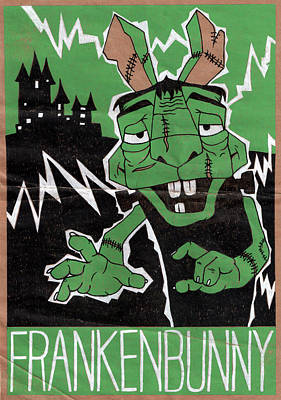 Frankenstein Drawing - Frankenbunny by Bizarre Bunny