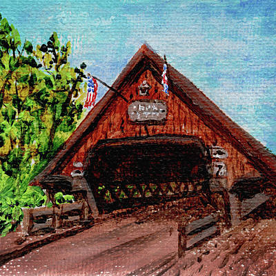 Michigan Frankenmuth Painting - Frankenmuth Michigan Wooden Bridge Impressionistic Landscape Xi by Irina Sztukowski