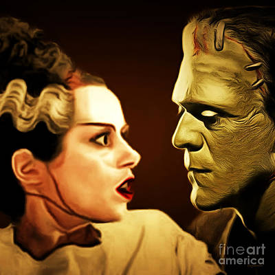 Photograph - Frankenstein And The Bride I Have Love In Me The Likes Of Which You Can Scarcely Imagine 20170407 Sq by Wingsdomain Art and Photography