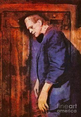 Wolfman Painting - Frankenstein, Classic Vintage Horror by Mary Bassett