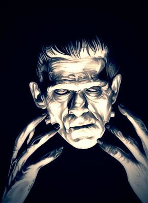 Electricity Drawing - Frankenstein by Fred Larucci