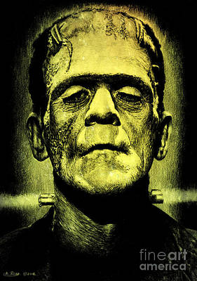 Pencil Drawing Mixed Media - Frankenstein Green Glow Version by Andrew Read
