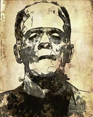 Film Noir Digital Art - Frankenstein by Mary Bassett