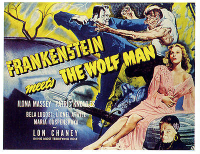 Movies Digital Art -  Frankenstein Meets The Wolf Man by Movieworld Posters